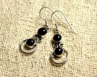 BO201 - Earrings Silver 925 28mm - Onyx Black round 6 mm