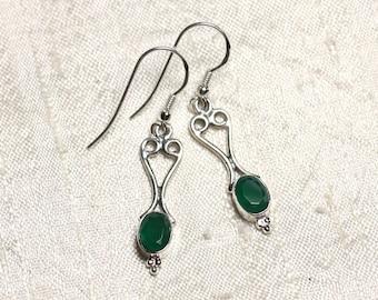 BO208 - 31mm Emerald heart 925 Sterling Silver earrings