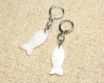 Fish 23mm White Pearl Earrings