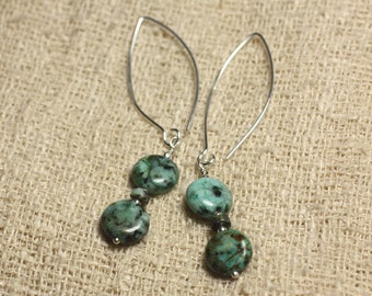 Sterling Silver 925 hooks 40mm - African beads 10mm Turquoise earrings