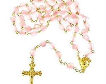 Pearl chain pink resin round Rosary length 56cm of gold