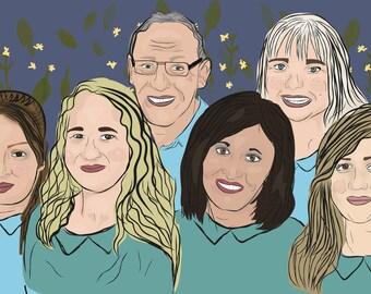 Custom Group portrait, Custom Family drawing, Custom Co-worker Portraits, Photo to Drawing.