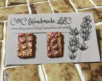 Gold and Rose Painted Polymer Clay Post Earrings.