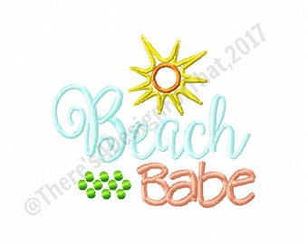 Beach baby embroidery design, summer embroidery design, vacation embriodery design, sun embroidery design