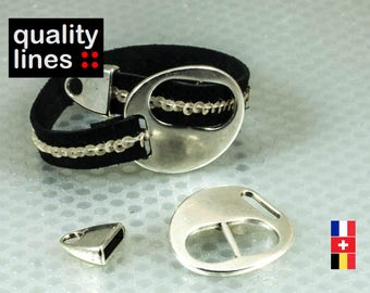 Silver Clasp in zamak with end cap for flat leather 10mm / 2mm bracelet