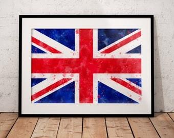 UK Union Jack Art Print // UK Flag Wall Art // British Flag // United Kingdom // Watercolor