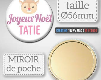 Merry Christmas Auntie Pocket mirror party Merry Christmas idea gift Christmas Badge 56 mm