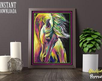 Decoración de pared, Diseño digital, Ilustración de caballo, Cuadro de caballo, Pintura digital, descarga directa, Arte digital