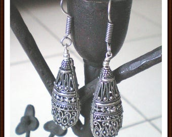 Silver Sterling 925 - long earrings cloisonne - 62mm