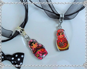 Russian doll matryoshka 28 mm enameled metal pendant double sided