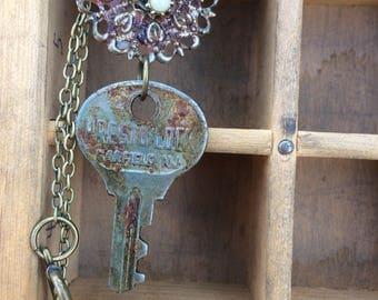 Rusty Key Necklace Pendant