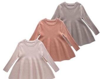 Girls Ribbed Knit Dress