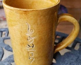 pottery mug, hand made pottery, namaste, unique pottery mug