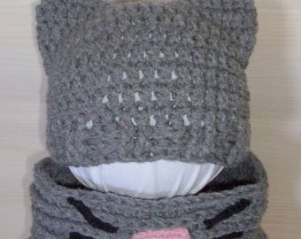Crochet adult hat and Snood Meow set