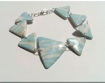 Bracelet multi triangles marbled blue, white and pearly white Polish