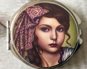 Gift for woman round Pocket mirror with two mirrors inside girl