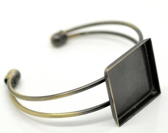 Bronze 1/3 for color 25mm square cabochon Bangle