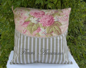 Shabby chic cushion in cotton ticking and vintage flowers with sign paint