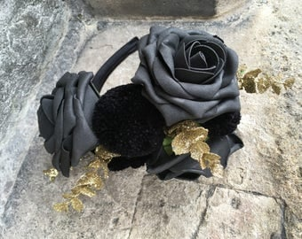 Gothic Glam Floral Pompom Headband