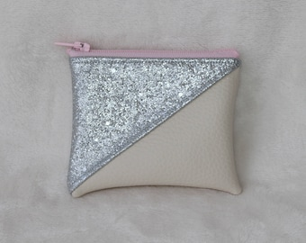 Wallet in faux silver and beige