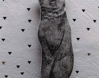 black and white bear shape pillow