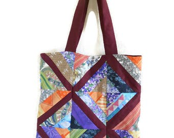 Bag, tote bag, Burgundy and multicolor patchwork