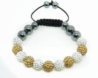 Shamballa rhinestone Crystal Gold Bracelet