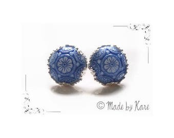 Earring studs romantic Blue ceramic Vintage Cabochon