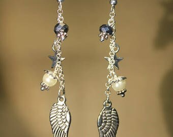 Earrings in silvery metal, Steampunk retro vintage 'Wing'