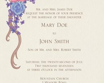 Custom Floral Wedding Invitation Design
