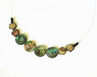 The Choker necklace with Abalone and mother of pearl beads