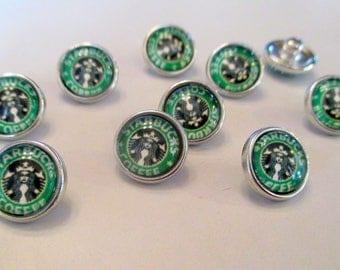 x 1 Snap - 12mm - Starbucks coffee Espresso - silver metal button