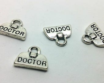 Silver x 1 charm - doctor Briefcase suitcase doctor - metal - Scrapbooking Customisation