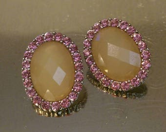 Beautiful Pink Crystal Oval Stud Earrings