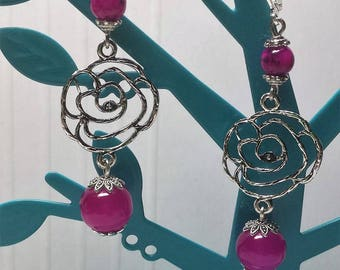 Fuchsia jade pearls and pink earrings