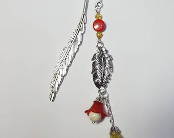 Small feather and flowers bookmark