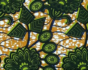 Fabric Green Wax flowers