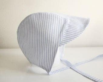 Hat/bonnet style baby boy sailor stripe - blue clear/white cotton