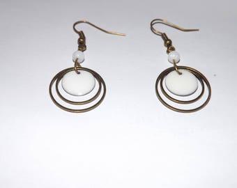 Bohemian, antique bronze round white epoxy enamel earring