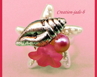 Adjustable ring - Pink starfish with flower Cabochon