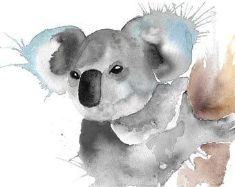 Koala Watercolour Painting Giclee Print A4
