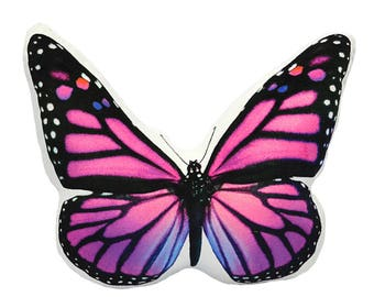 Decorative Accent Throw Pillow, Butterfly Accent Pillow, Pink Throw Pillow