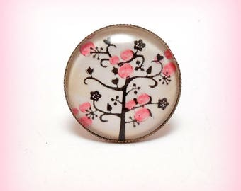 "Ring cabochon glass ""Pink fruit tree"""