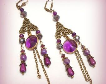 """Bronze earrings """"In dark purple Oriental!"""""""