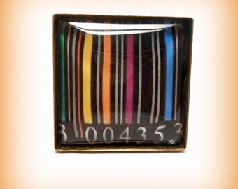 "Ring Cabochon square glass ""small bar codes! ...."