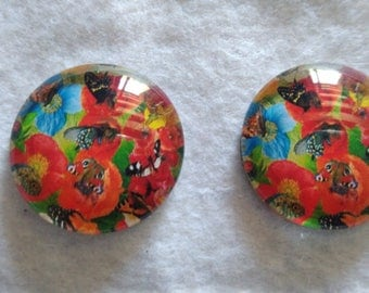 set of 2 cabochons glass 25mm