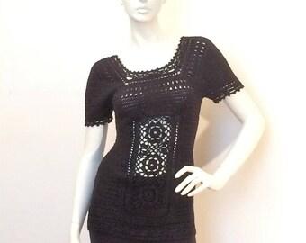 "Black ""ebony"" crocheted tunic sweater"