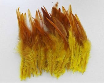 set of 10 yellow feathers mixed 10-15cm