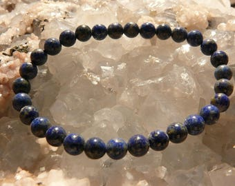 Lapis Lazuli 6 mm round pearl bracelet with A + grade on elastic thread