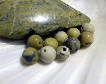 Serpentine of Peru 6mm round pearls